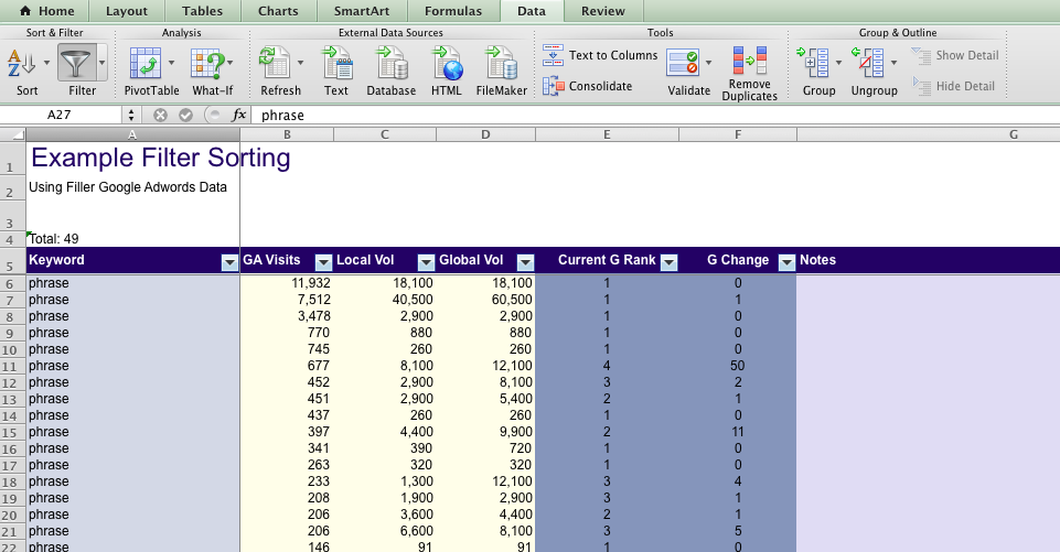 Creating A Ms Excel Column Header Row For Sorting Dax On Data